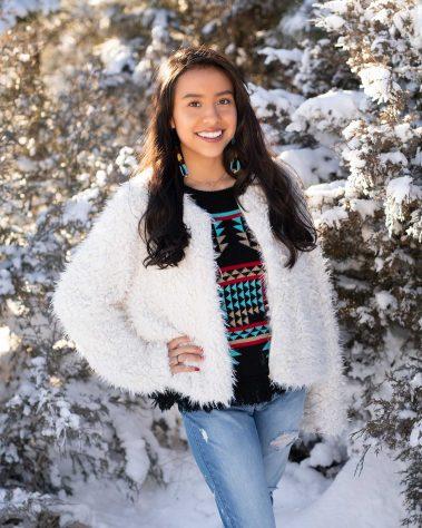 senior girl in fur coat