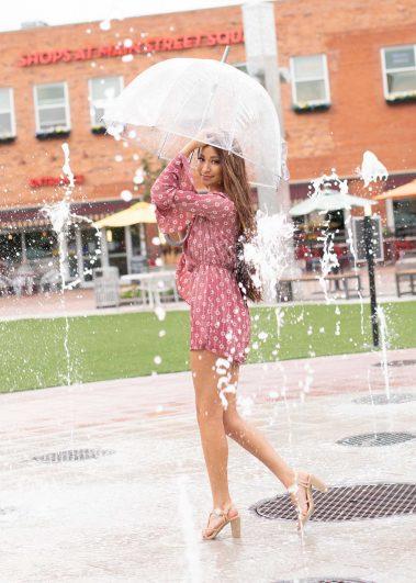 senior girl in fountain