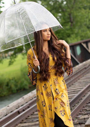 senior girl with umbrella