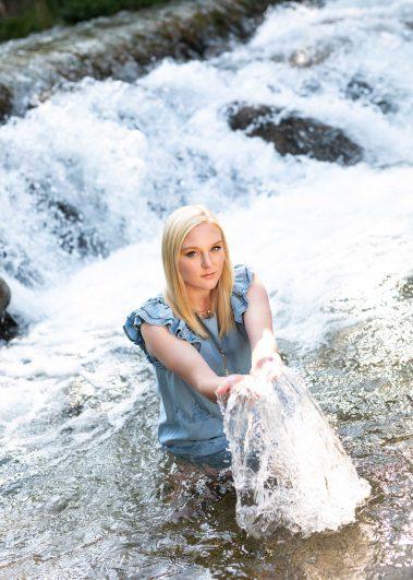 senior in water