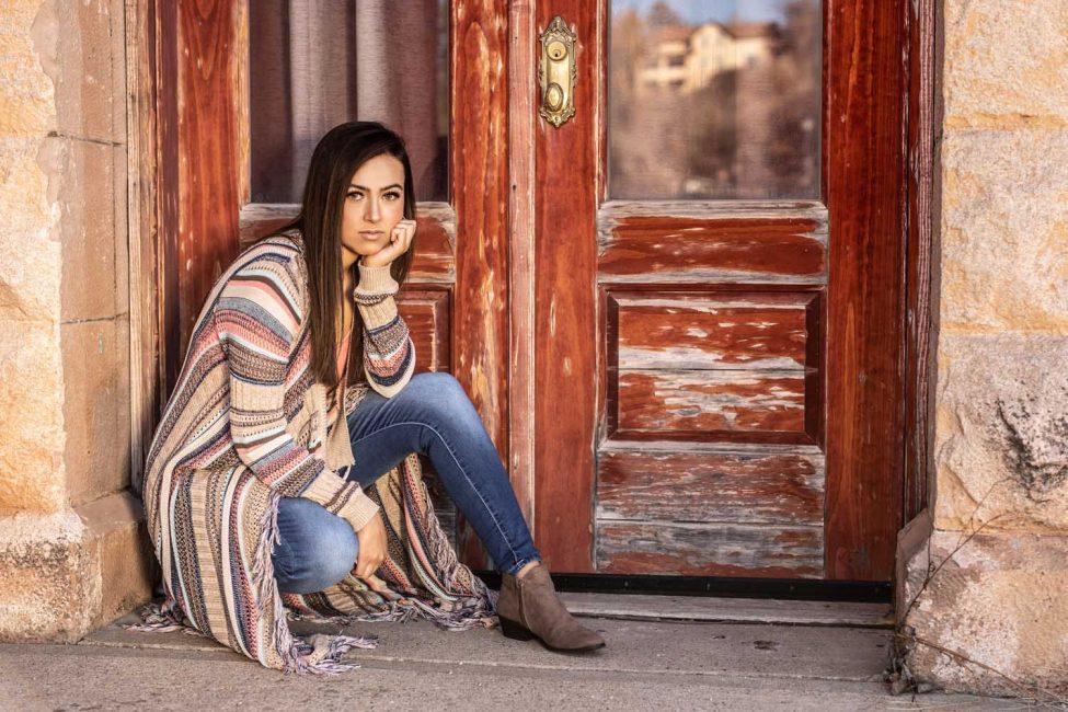 senior girl on front porch