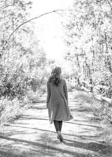 senior walking away