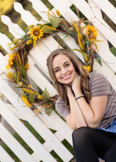 senior girl with yellow wreath