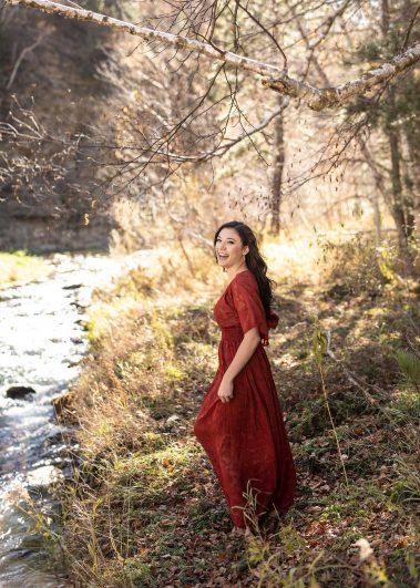 senior girl near creek