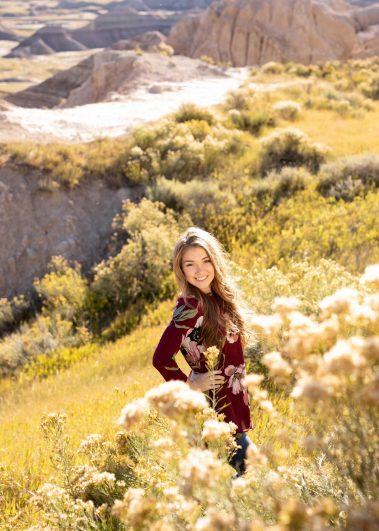 senior girl in valley of flowers