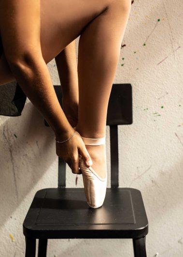 ballet slipper on chair