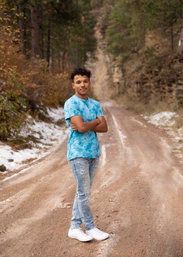 senior on dirt path