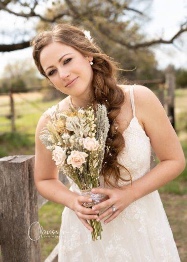 bride close up with bouquet