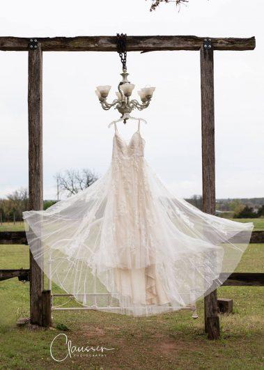 wedding dress displayed