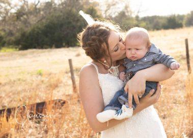 bride kissing baby boy